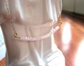 PInk Lady Pink Watermelon Tourmaline Gemstone Bar Necklace