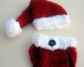 Crochet Santa Hat and Matching Diaper Cover- 0 - 3 month and 3 - 6 month size