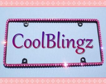 Thin ROSE PINK Rhinestone Diamond Crystal Bling License Plate (on BLACK) Frame