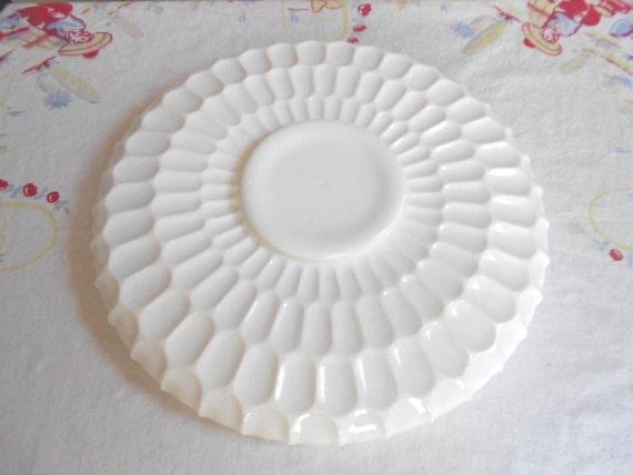 Vintage Large Round Milk Glass Milkglass Serving Tray Thumb Print Design FREE SHIPPING