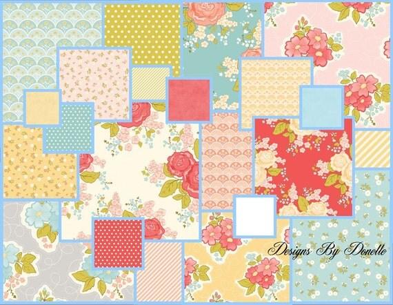 "Riley Blake Designs, ""MARGUERITE"" By Stitch Studios (22) 5"" Quilt Fabric Squares"