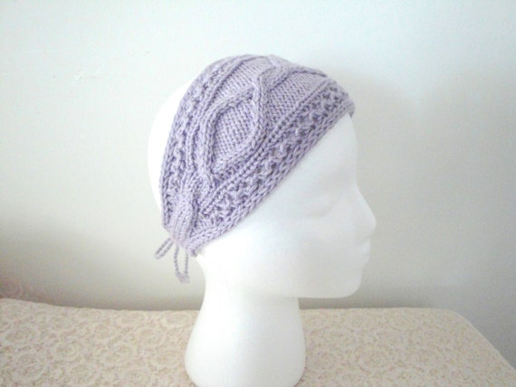 Hand Knit Headband Bandana Accessory, Lavender with Cables, Decorative  Headwrap Head Scarf