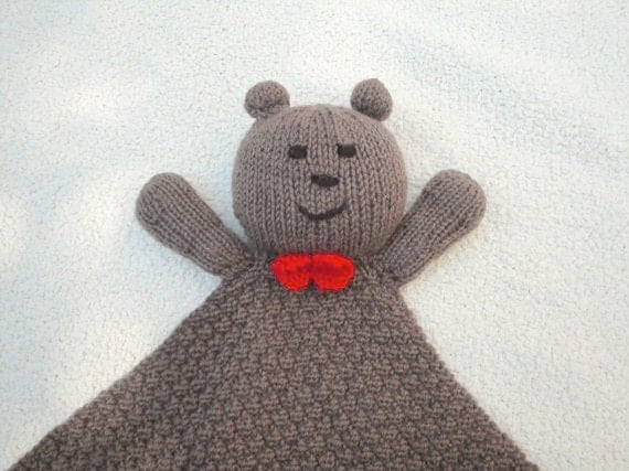 Hand Knit Bear Lovie Blanket Brown and Red Security Blanket