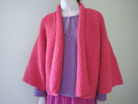 Hand Knit Kimono Sweater, Girls Tween/Teen Kimono Cardigan Sweater Bright Pink Knitted Soft Boxy Easter