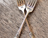 Fabulous MR and MRS Forks - Set of Upcycled Vintage Silverware Forks hand stamped