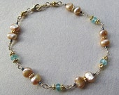 Golden pearls, sparkling apatite , gold vermeil Indonesian accent bead bracelet  On Hold for Cheryl