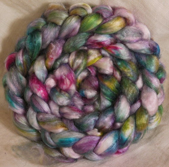 Hand- dyed tussah silk roving -Watercolors  (1.67 oz.)