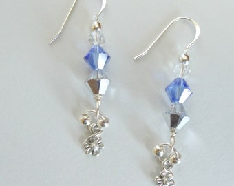 Sterling Silver Earrings, Flower Dangle  Blue Swarovski Crystals One of a Kind