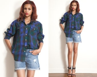 Vintage 60s 70s Pearl Snap PLAID Button Up Grunge Cow Boy Shirt // Oversized // mens womens
