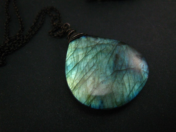 Labradorite Heart Pendant,oxidized sterling silver chain