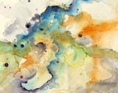 Original watercolor abstract painting by Victoria Kloch, turquoise, green and yellow