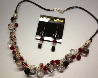 Black, Red & Crystal Crocheted Wire Choker