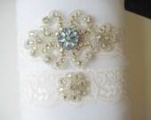 Wedding Garter Pale Blue Vintage Style Jewel Beautiful Bridal Ivory Garter Set Rhinestone Diamante Matching Crystal Flower Toss Garter