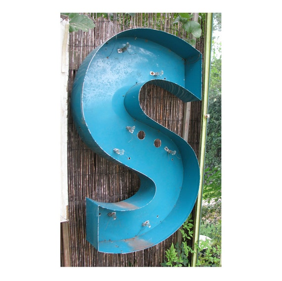 Very Large Vintage Channel Letter S Metal Sign