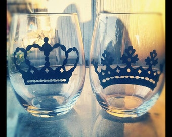 Stemless wine glasses  set of 2 with Crowns can be personalized with name on back or below crown