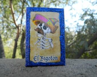 Loteria Day of the Dead Matchbox, El Bigoton and El Petate
