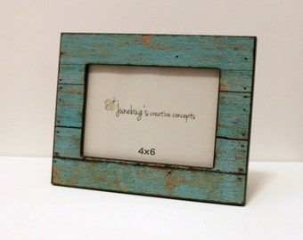 4x6 wood photo frame weathered rustic wood turquoise rustic wood picture frame barnwood frame painted wood look photo frame