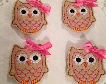 Owls - Embroidered Felt Owls with Pink Bows-Set of 4