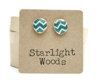 Blue Chevron Stud earrings , Deep sea blue  studs , resin jewelry , stud earrings , wood earrings , fall jewelry , eco friendly ,