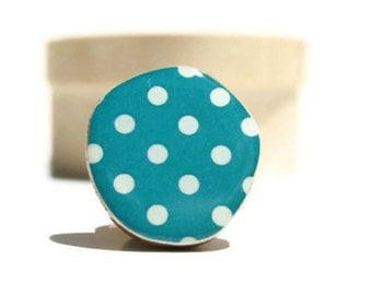 Teal Polka dot statement ring . Statement jewelry. Polka dot ring . eco friendly statement ring. Starlight Woods