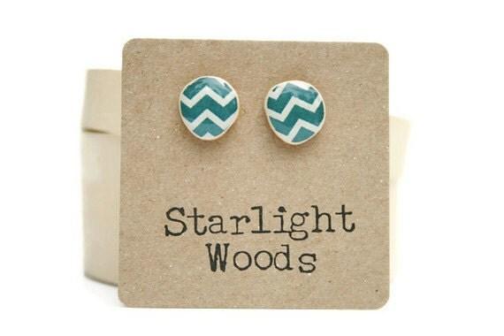 Blue Chevron Stud earrings , Deep sea blue  studs , resin jewelry , stud earrings , wood earrings , fall jewelry , eco friendly ,