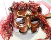Lion Venetian Halloween leather mask sculpture Mardi Gras Carnival Masquerade