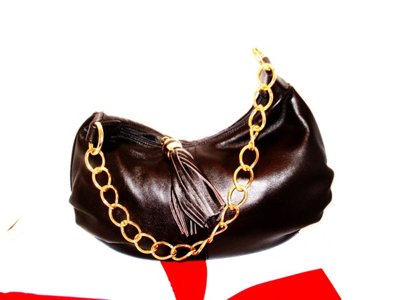 1980s Black Leather Handbag Purse with Gold Chain