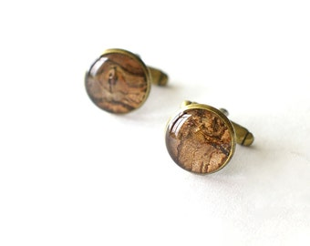Real Bark Cufflinks - brown unusual handmade resin cuff links woodland rustic wedding - Prunus cerasus