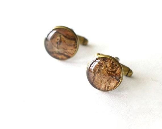 Real Bark Cufflinks - brown unusual handmade resin cuff links woodland rustic wedding - Prunus cerasus