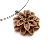 Flower Necklace. Polymer Clay Nude Beige and Brown Choker. Handcrafted Flower. Large Flower Pendant. Floral Necklace. Nature Inspired