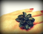 Black Flower Ring. Large Flower Ring. Adjustable Size. Cocktail Ring. Garden Party. Black Jewelry. Flower Jewelry. Polymer Clay Floral Ring.