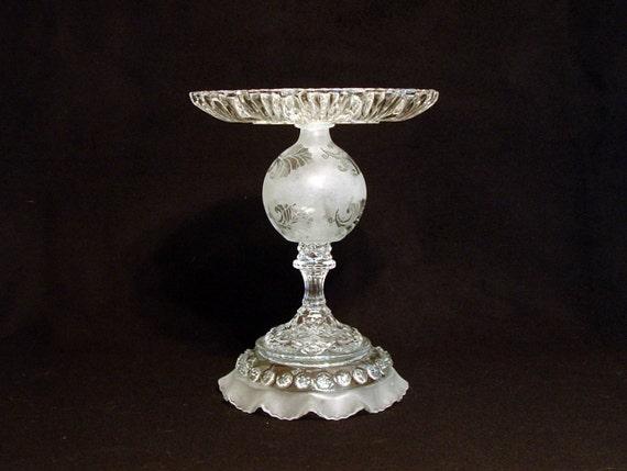 "Victorian style pedestal stand.  Food server.  Food display.  Catch-all dish.  Soap dish. ""The Laura"" is made with repurposed glass"