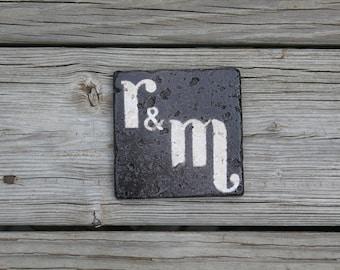 oil rubbed bronze stone coasters custom monogram initial wedding coasters favor rustic wedding gift groomsman gift
