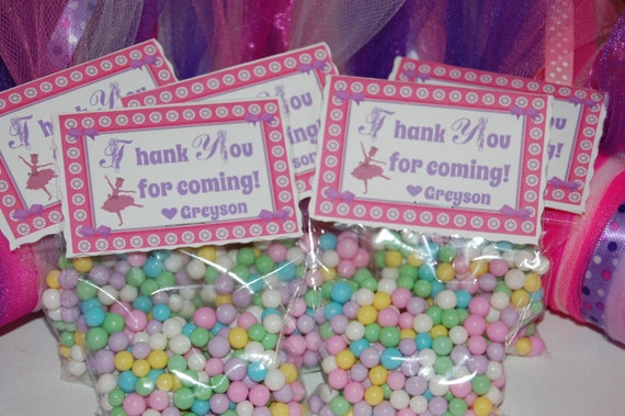 Tutu Much Fun Ballet Party Favor Topper Tags and Bags... Personalized with your message...  Set of Eight