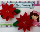 Christmas hair clip red pointsettia