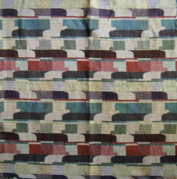 Vintage Fabric - Upholstery Sample, Mosaic of Colors, Abstract Design, Small Upholstery Projects