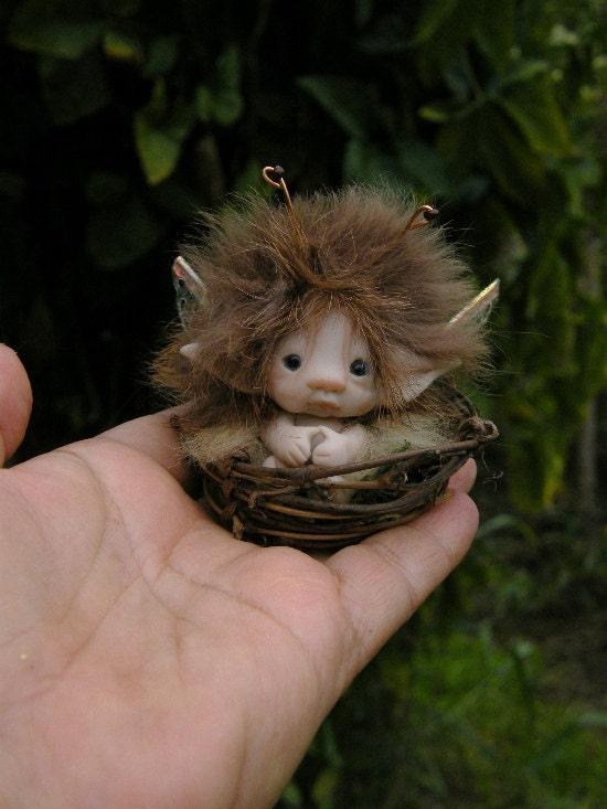 Sweet Tiny Ooak Full Sculpt 2 Inch Fairy Fairie Bug In Tiny