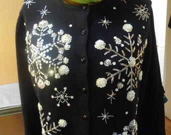 Crystal Snowflake Sequinned Sweater.   Discounted 25%