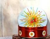 Vintage mid-century starbright holiday tin, red, sparkle starburst tin excellent condition