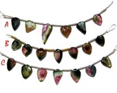 Gorgeous Bi Colour Water Melon Tourmaline Gemstone Carved leaf beads Strand Natural Hand carving beads for jewelry making beading supplies