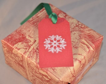 Snowflake Handstamped Christmas Gift Tags - Holiday Gift Tags - Snowflake Placecards (Set of Six)
