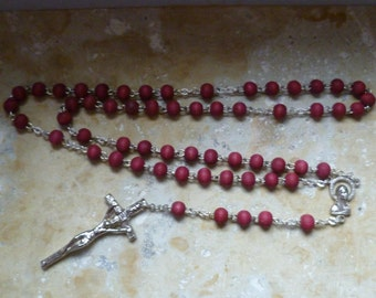Vintage Rosary with a Stunning Crucifix And Wine Red Wooden Beads Made in Italy