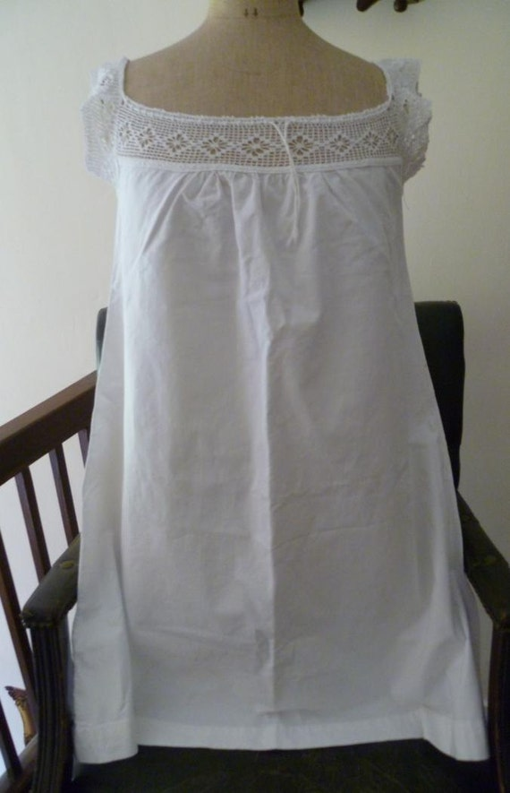 Antique1910's French nightgown Nightdress with Hand Crochet Lace Monogram DJ
