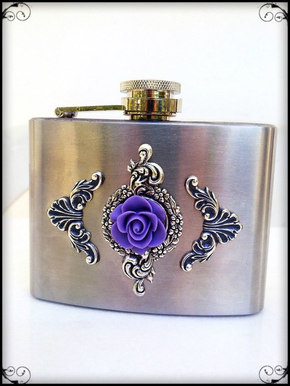 Gothic Ornate Hip Liquor Flask, Purple Rose, Silver