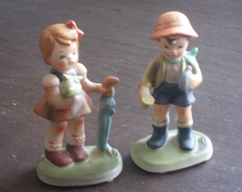 Vintage Boy and Girl Figurines Numbered