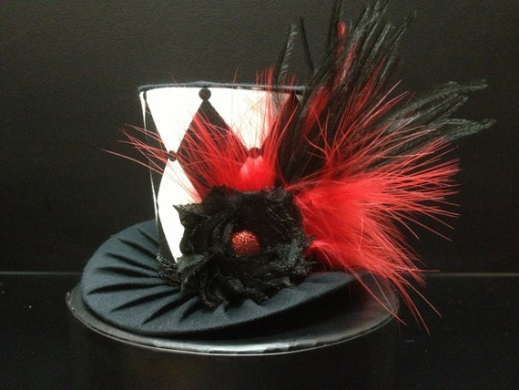 Black and White Mad Hatter Mini Top Hat. Great for Birthday Parties, Tea Parties, Photo Prop, Girls Night Out and Much More...