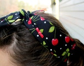vintage inspired hair wrap - black cherry