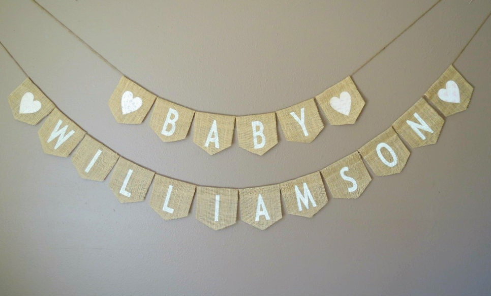 baby name burlap banner baby shower decoration photography