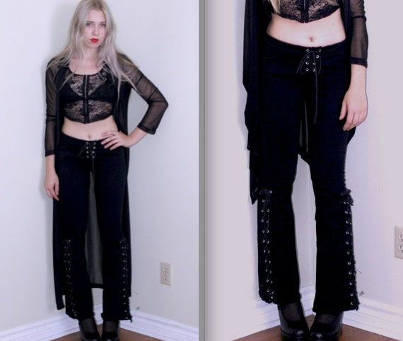 RESERVED Black Flared Pants w/Lace up Sides and Crotch
