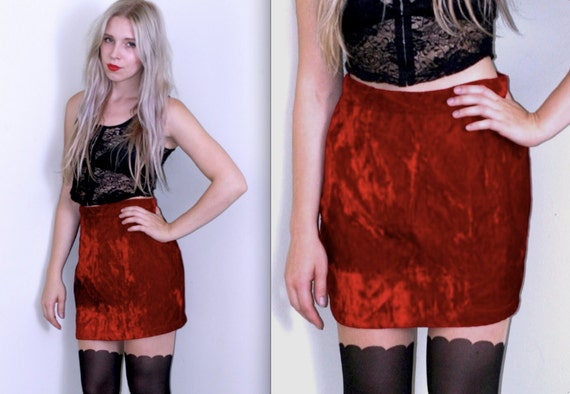 Reserved High Waist Crushed Red Velvet Mini Skirt